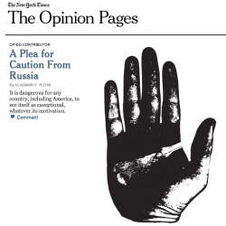 "Putin's ""A Plea for Caution From Russia"" on NYT OP-ED"
